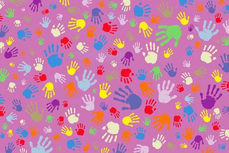 Foto de Background of many colored handprints on a pink background - Imagen libre de derechos