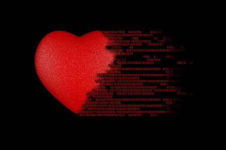 Foto de Love concept. Binary code digits come out of the heart - Imagen libre de derechos