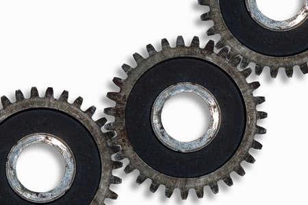 Photo pour Old iron rusty gear wheel on a white background close up - image libre de droit