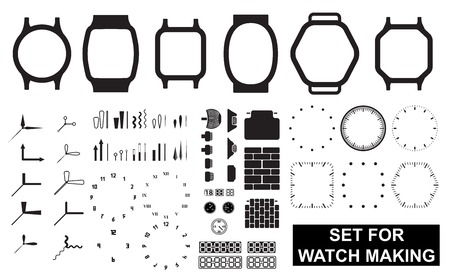 Set for watch making on white background