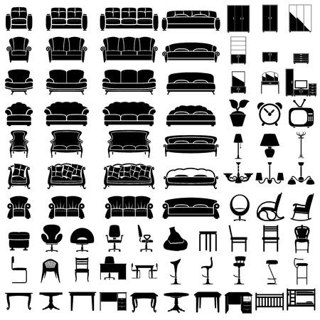furniture icon set on white background