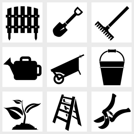 Garden icons black vector plant tools farm