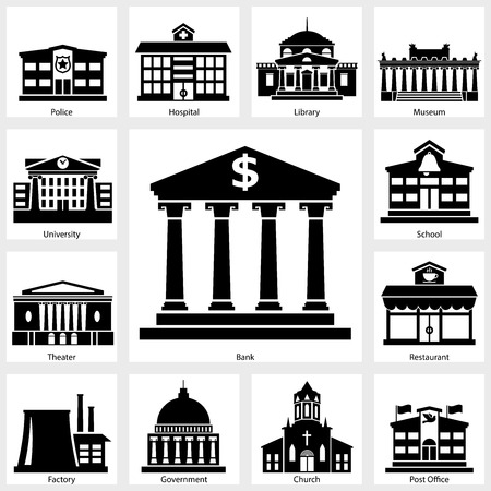 Building icon on white background