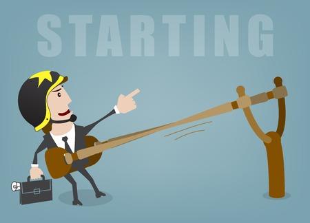 Business man start up success vector illustration