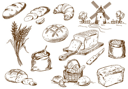 Illustration pour Bread set. Pen sketch converted to vectors. - image libre de droit