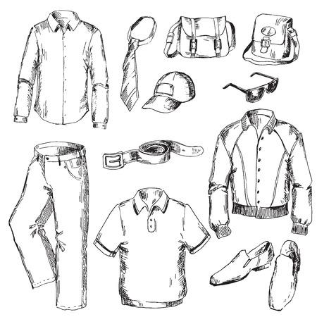 Illustration pour Set of clothes for men. Pen sketch converted to vectors. - image libre de droit