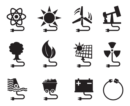 Energy icon energy source electricity power resource set vector