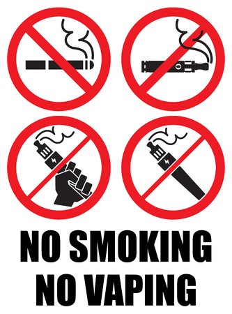 set vaping icons no smoking sign vape