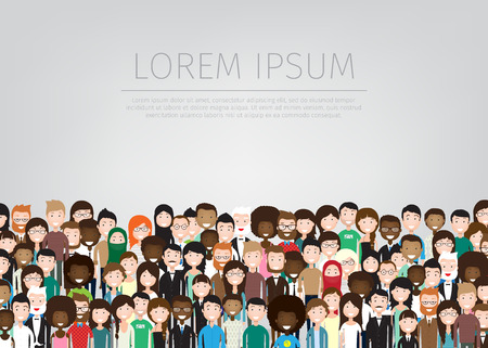 Ilustración de large group of different people background - Imagen libre de derechos