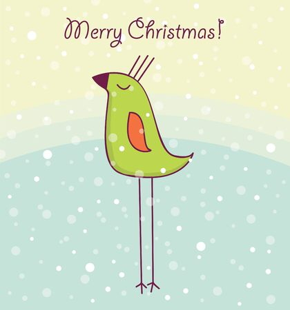 Christmas card with happy bird