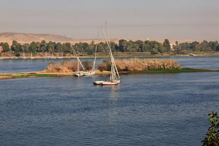 Photo pour Aswan city in Egypt on the Nile river - image libre de droit