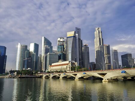 Photo for Singapore - 03 Mar 2012: The view on skyscrapers in the marina, Singapore - Royalty Free Image
