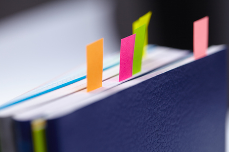 Business diary with a colored tabs