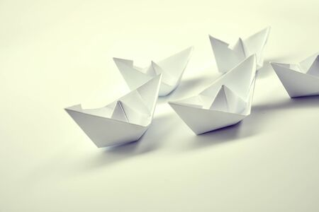 Photo for Paper boats on white - Royalty Free Image