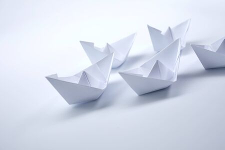 Photo for paper boats on the white background - Royalty Free Image