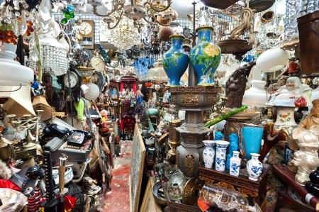 Cluttered junk shop at Upper Lascar Row antique market, Hong Kong