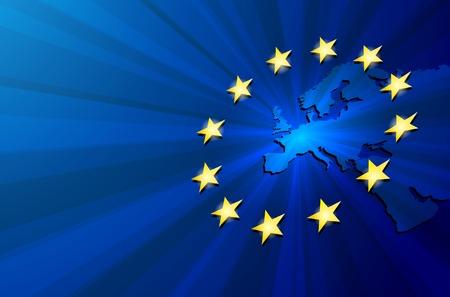 Vector illustration blue Europe map