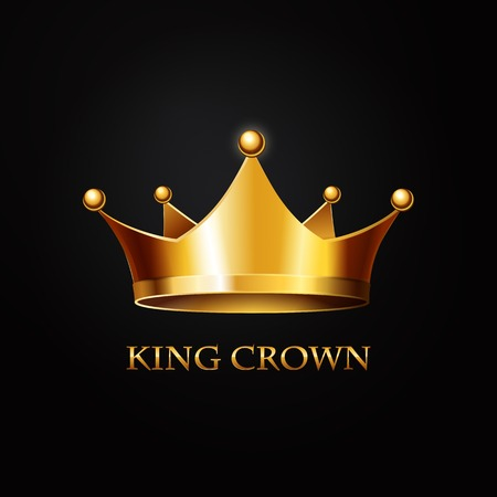 Illustration for Gold Crown on black  Background. Vector Illustration - Royalty Free Image