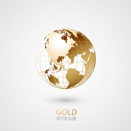Ilustración de Golden transparent globe isolated in white background. Vector icon. - Imagen libre de derechos