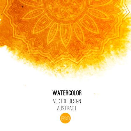 Ilustración de Orange watercolor brush wash with pattern - round tribal elements. Vector ethnic design in boho style. - Imagen libre de derechos