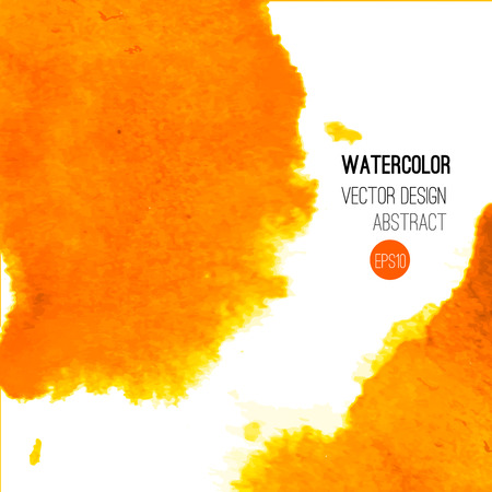 Abstract watercolor background. Orange Hand drawn watercolor backdrop, texture, stain watercolors on wet paper. Vector illustration