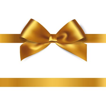 Ilustración de Shiny gold satin ribbon on white background. Vector - Imagen libre de derechos