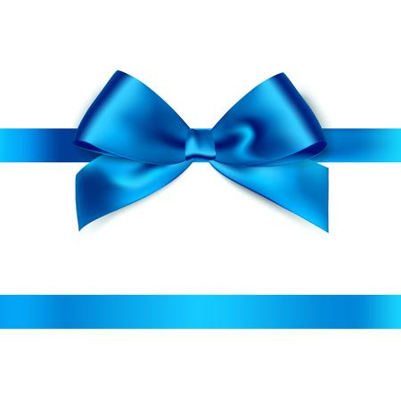 Illustration pour Shiny blue satin ribbon on white background. Vector - image libre de droit
