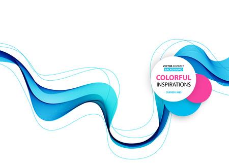 Illustration pour Abstract smooth color wave vector. Curve flow blue motion illustration - image libre de droit