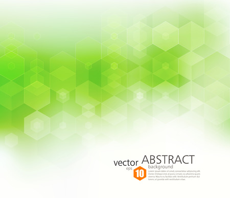 Ilustración de Vector Abstract geometric background. Template brochure design. Green hexagon shape - Imagen libre de derechos