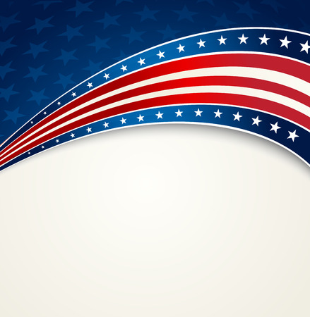 Illustration for American Flag, Vector patriotic background for Independence Day, Memorial Day - Royalty Free Image