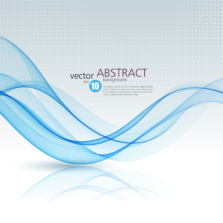 Ilustración de Abstract vector background, blue waved lines for brochure, website, flyer design.  illustration - Imagen libre de derechos