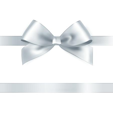 Ilustración de Shiny white satin ribbon on white background. Vector - Imagen libre de derechos