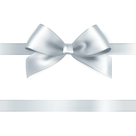 Shiny white satin ribbon on white background. Vector