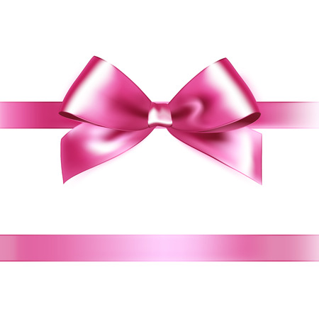 Illustration pour Shiny pink satin ribbon on white background. Vector - image libre de droit