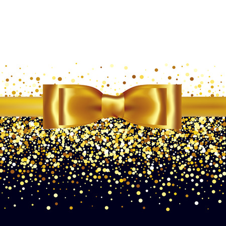 Illustration pour Golden glitter background with gold silk bow and ribbon - image libre de droit