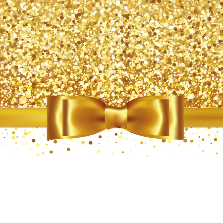 Illustration for Golden glitter background with gold silk bow and ribbon - Royalty Free Image