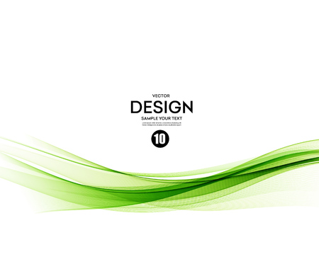 Ilustración de Abstract vector background, green waved lines for brochure, website, flyer design.  illustration - Imagen libre de derechos
