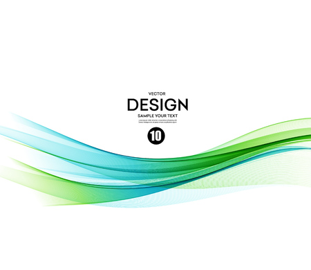 Ilustración de Abstract vector background, blue and green waved lines for brochure, website, flyer design.  illustration - Imagen libre de derechos