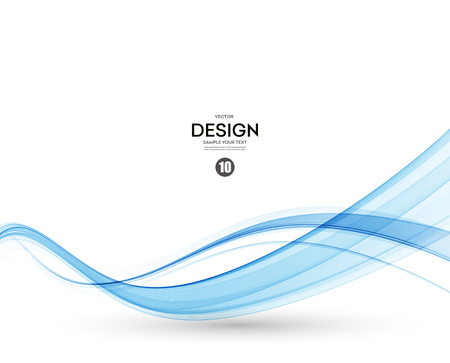 Illustration pour Abstract vector background, blue transparent waved lines. - image libre de droit