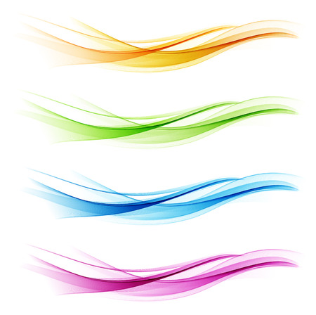 Ilustración de Set of abstract color wave. Color smoke wave. Transparent color wave. Blue, pink, orange, green color. Wavy design - Imagen libre de derechos