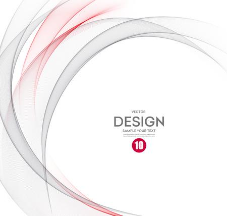 Illustration pour Abstract vector background, gray and red waved lines for brochure, website, flyer design.  illustration eps10 - image libre de droit
