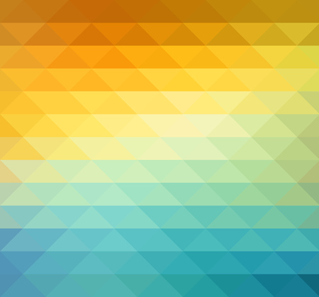 Ilustración de Abstract geometric background with orange, blue and yellow triangles. Vector illustration Summer sunny design. - Imagen libre de derechos
