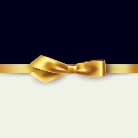 Photo pour Shiny gold satin ribbon on white and black background. Vector - image libre de droit