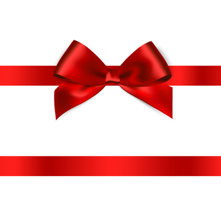 Illustration pour Shiny red satin ribbon on white background. Vector - image libre de droit