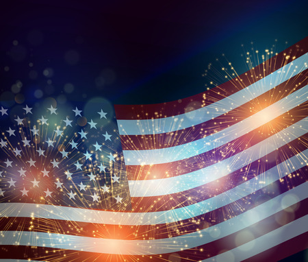 Foto per United States flag. Fireworks background for USA Independence Day. Fourth of July celebrate - Immagine Royalty Free