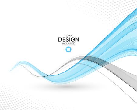 Illustration pour Abstract vector background, gray and blue waved lines for brochure, website, flyer design.  illustration - image libre de droit