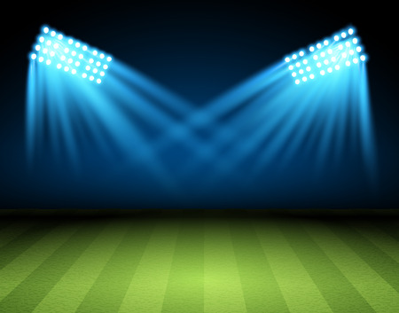 Illustration pour Football arena. Vector Soccer field with searchlight, spotlight, projector - image libre de droit