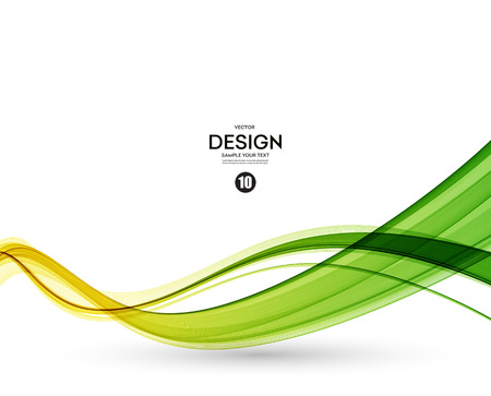 Illustration pour Abstract color wave design element. Yellow and green wave - image libre de droit