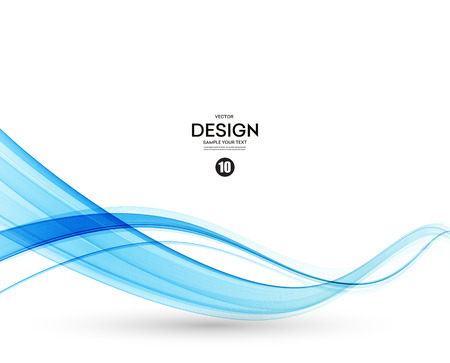 Abstract Vector Background Blue Transparent Waved Lines For