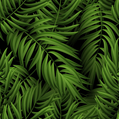 Ilustración de Seamless tropical jungle floral pattern with palm fronds. Vector illustration. Green Palm leaves pattern on black background - Imagen libre de derechos